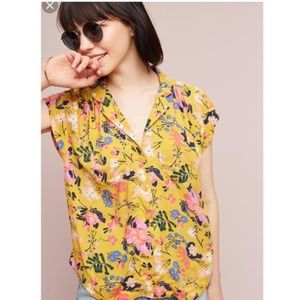Maeve Anthropologie Yellow Floral Button Up Blouse